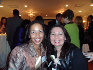 Dr. Hawthorne, at left, is all smiles with Congresswoman Tammy Duckworth (D-Ill.) at the Woman's National Democratic Club Reception.