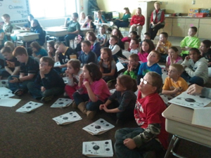 Students at an Ohio school listen intently to an optometrist during a Realeyes presentation.