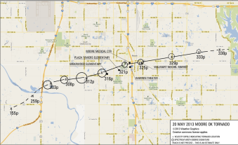 Path of May 20, 2013 tornado through Moore, Okla.