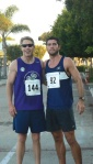 John Kauderman, at right, from Davie, Fla., crossed the Optometry Cares® 5K finish line first with a time of 18:00, followed by Kent Edens, at left, at 18:45.