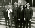 Dean Henry B. Peters and the first UAB optometry students, 1969. Members of the first class were recruited by Dean Peters and began their studies at the end of September 1969. Pictured from left, front row, Michael E. Raim, Eugenie Sturtevant, Dean Henry B. Peters, Neil M. Bleakley, and Ronald E. Dachelet; and back row, Nelson G. Crandall, Ernest S. Spohn, Alan G. Tavel, and Gene J. Terrezza. The School of Optometry awarded its first bachelor degrees in physiological optics in 1971 and its first Doctor of Optometry degrees in 1973. Photo courtesy of the UAB Archives, University of Alabama at Birmingham